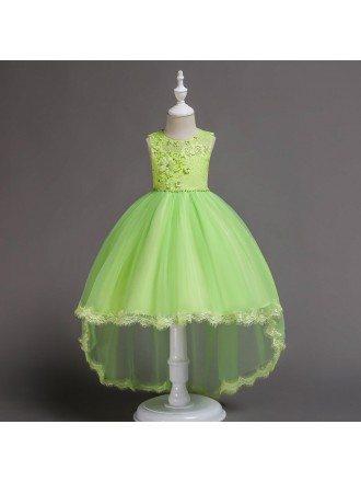 High Low Aqua Applique Lace Flower Girl Dress For Fall Wedding