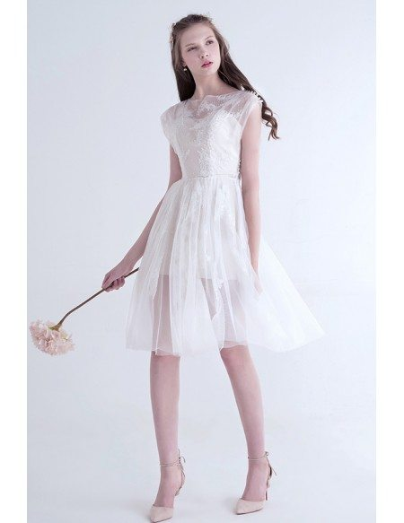 Casual Boho Short Wedding Dresses Lace Cap Sleeves Simple A Line Scoop Neck Knee Length Tulle Style Ty016 139 Gemgracecom