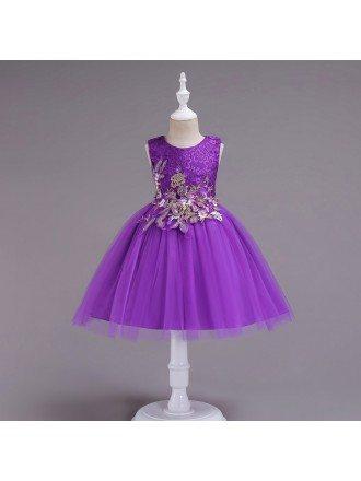 Short Purple Applique Lace Flower Girl Dress For 2019 Juniors