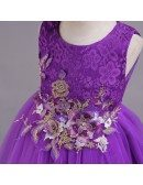 Short Purple Applique Lace Flower Girl Dress For 2019 Juniors