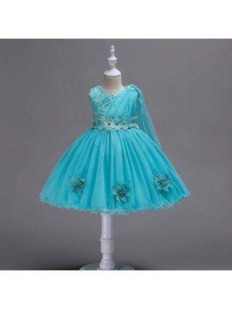Modern Aqua Short Lace Flower Girl Dress For Infants