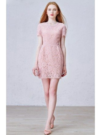 Simple A-Line Scoop Neck Knee-Length Lace Tulle Dress
