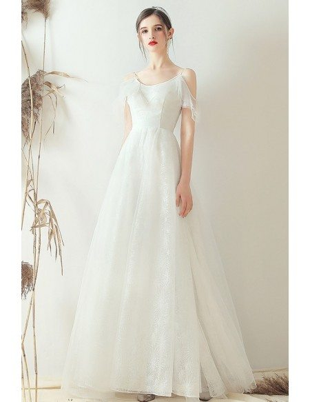 Simple Lace Aline Beach Wedding Dress With Spaghetti Straps