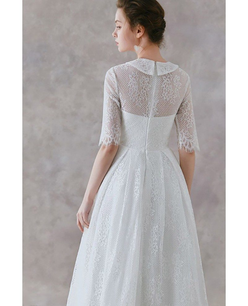 French Vintage Lace Tea Length Wedding Dress With Collar Half Sleeves Ys602 Gemgrace Com