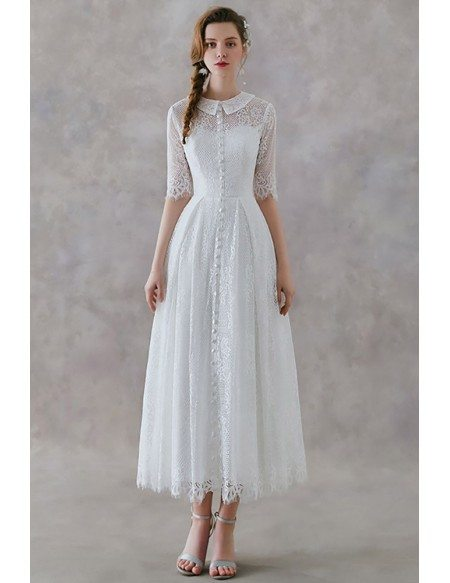 French Vintage Lace Tea Length Wedding Dress With Collar Half Sleeves Ys602 Gemgracecom