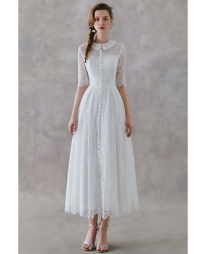 Wedding Dresses: French Vintage Lace Tea Length Wedding Dress With Collar