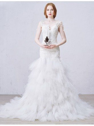 Sexy Mermaid V-neck Chapel Train Tulle Wedding Dress With Appliques Lace