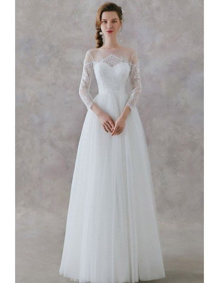 Gorgeous Lace 3/4 Sleeves Long Tulle Beach Wedding Dress With Sheer Neckline