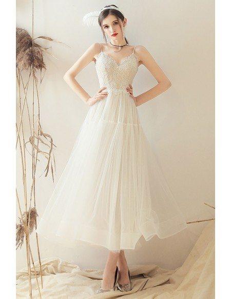Retro Vintage Style Tea Length Wedding Dress Open Back With Spaghetti Straps
