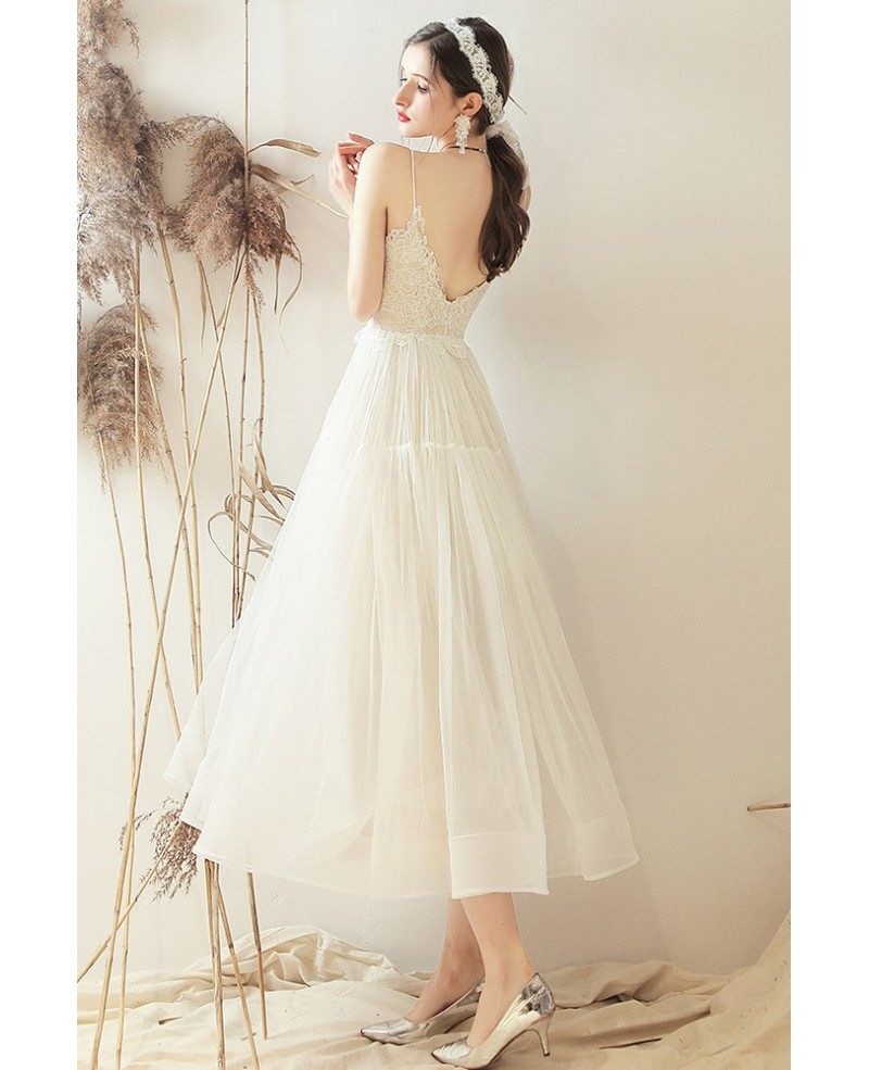 Retro Vintage Style Tea Length Wedding Dress Open Back