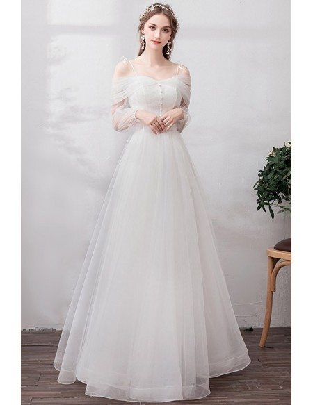 Romantic Simple Long Tulle A Line Wedding Dress With Straps