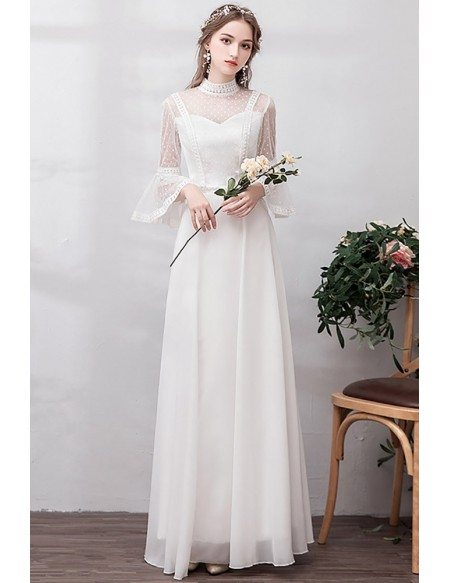 Polka Dot Vintage High Neck Retro Wedding Dress With Bell Sleeves