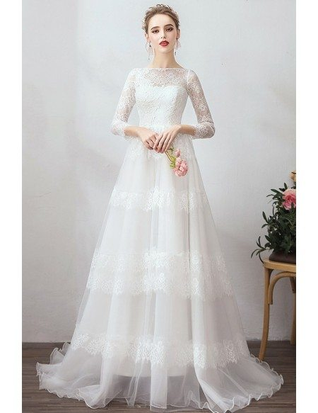 Romantic Vintage Lace Wedding Dress Vintage With Long 3/4 Sleeves