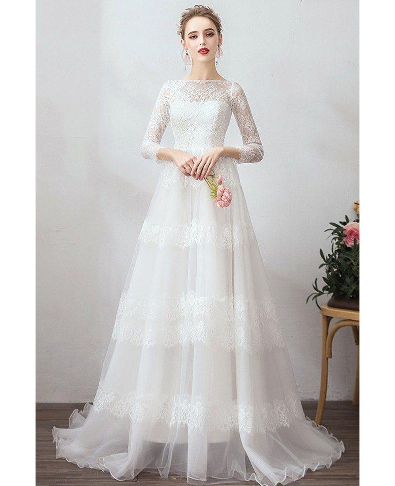 Romantic Vintage Lace Wedding Dress Vintage With Long 3/4