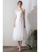 Vintage Tea Length Tulle Wedding Dress With Lace Top
