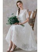 Retro High Low Lace Two Pieces Wedding Dress Tea Length For Country Outdoor Weddings