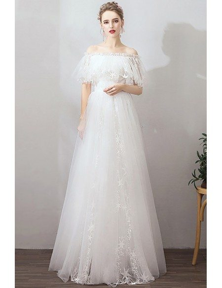 Cute Off Shoulder Star Long Tulle Wedding Dress For Reception Party