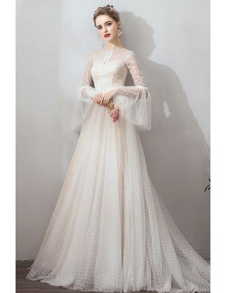 French Romantic Polka Dot Vintage Wedding Dress With Long Sleeves Sweep Train