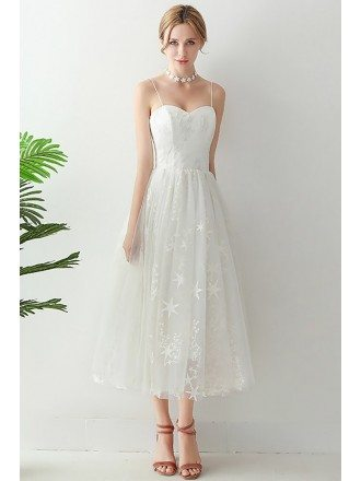Super Cute Star Lace Tea Length Wedding Dress With Spaghetti Straps