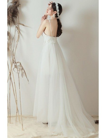 Pretty Floral Straps Aline Tulle Wedding Dress Backless