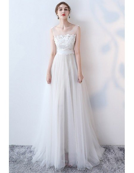 Flowy Long Tulle Boho Wedding Dress With Lace Top