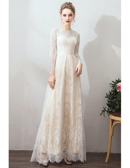 Romanti French Retro Long Sleeve Wedding Dress With Removable Skirt