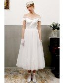 Vintage Satin And Tulle Tea Length Wedding Dress Off Shoulder