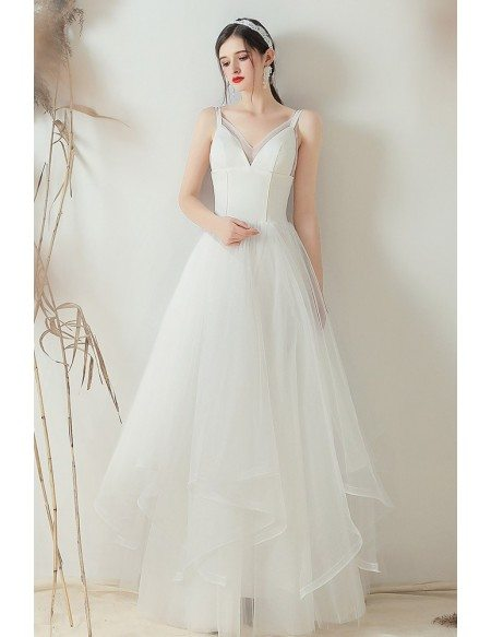 Gorgeous V-neck Ruffled Simple Wedding Dress With Straps