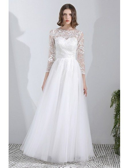 Leaf Lace Long Tulle Wedding Dress Aline With 3/4 Sleeves