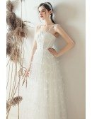 Lovely Beaded Flowers Retro Corset Top Wedding Dress With Spaghetti Straps