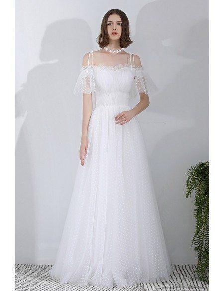 Vintage Polka Dot Wedding Dress Off Shoulder With Straps