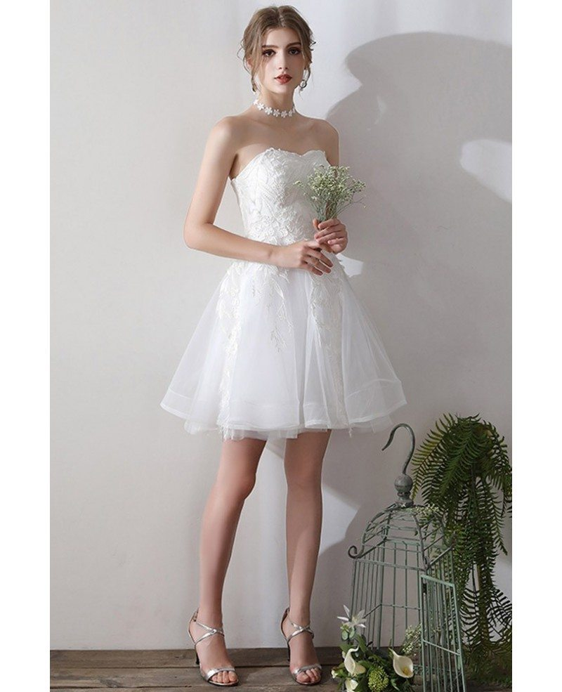 Cute Short Leaf Lace Strapless Wedding Dress With Laceup Ys623 Gemgrace Com