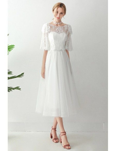 Retro Tea Length Tulle Wedding Dress With Lace Jacket