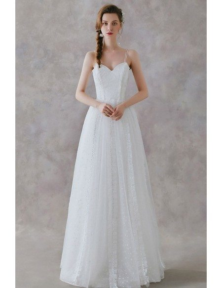 Simple Long Tulle Boho Wedding Dress With Spaghetti Straps