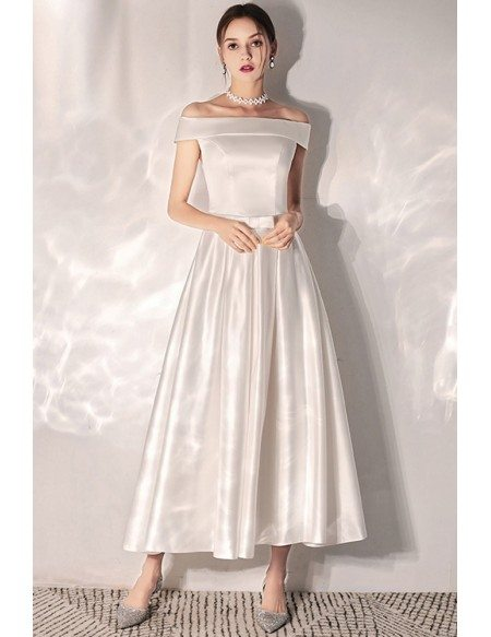 Vintage Chic Tea Length Satin Wedding Dress With Off Shoulder