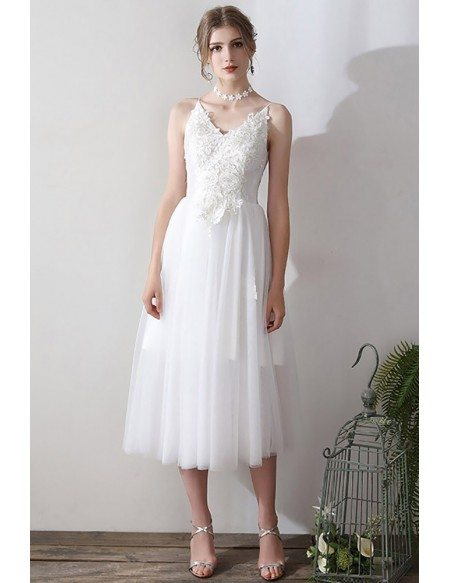 Retro Lace Open Back Tea Length Wedding Dress V-neck