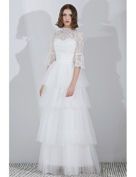 Vintage Lace High Neck Wedding Dress Floor Length With Sleeves