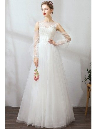 Flowy Long Tulle Simple Wedding Dress With Fairy Tulle Sleeves