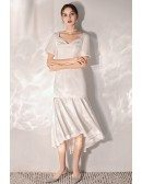 Retro Chic Simple Satin Wedding Reception Dress Tea Length With Sleeves