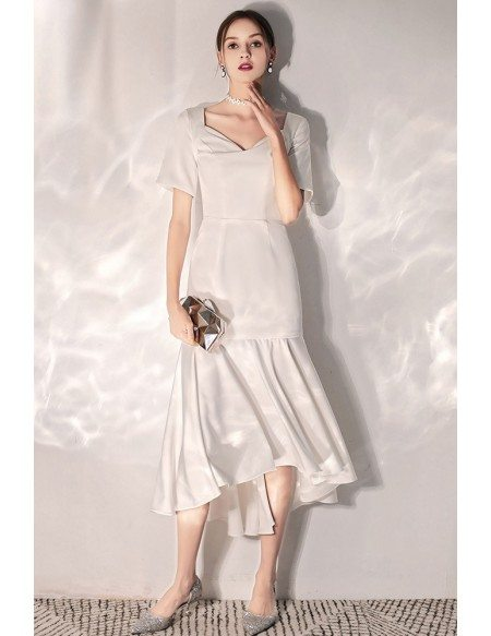 Retro Chic Simple Satin Wedding Reception Dress Tea Length With Sleeves