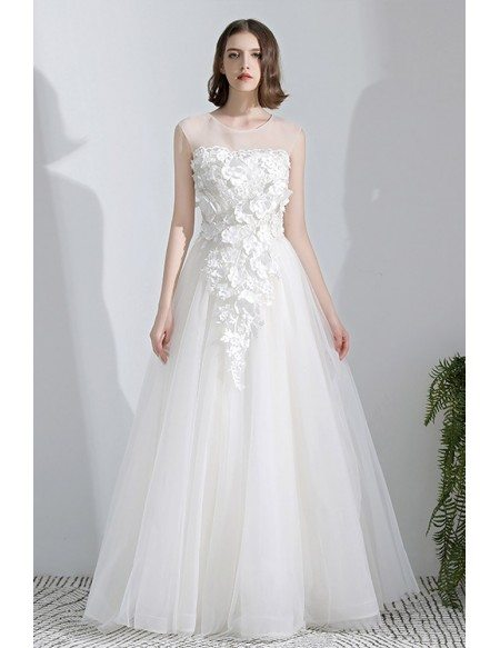 Fairy Flowers Lace Long Tulle Wedding Dress Sleeveless With Illusion Neckline
