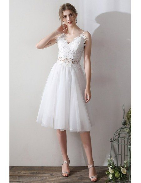Cute Two Pieces Lace V-neck Wedding Dress Short Tulle With Straps