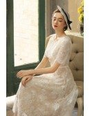 Vintage Champagne Lace Tea Length Wedding Dress With Sleeves