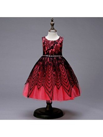 Infant Short Watermelon Black Lace Girl Dress with Beading Waist