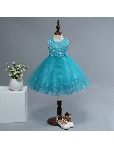 Elegant Turquoise Cute Short Flower Girl Dress with Applique
