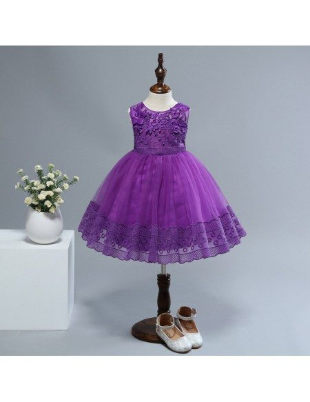 Cheap Purple Lace Short Flower Girl Dress For 2 Year Old