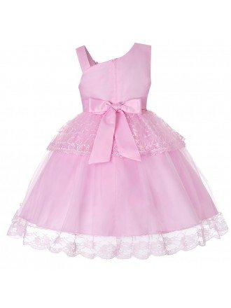 Cheap Cute Pink Lace Tutu Short Flower Girl Dress For Infants