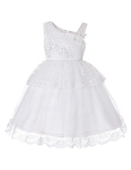 Cheap Cute Pink Lace Tutu Short Flower Girl Dress For Infants