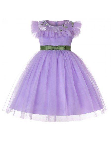 2019 Short Lavender Kid Birthday Party Dress
