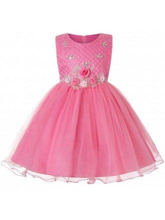 Rose Pink Floral Girl Kid Dress Short For Infants